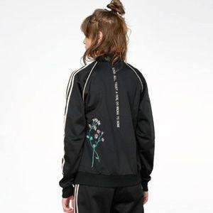 adidas / pink and black track jacket floral stripe